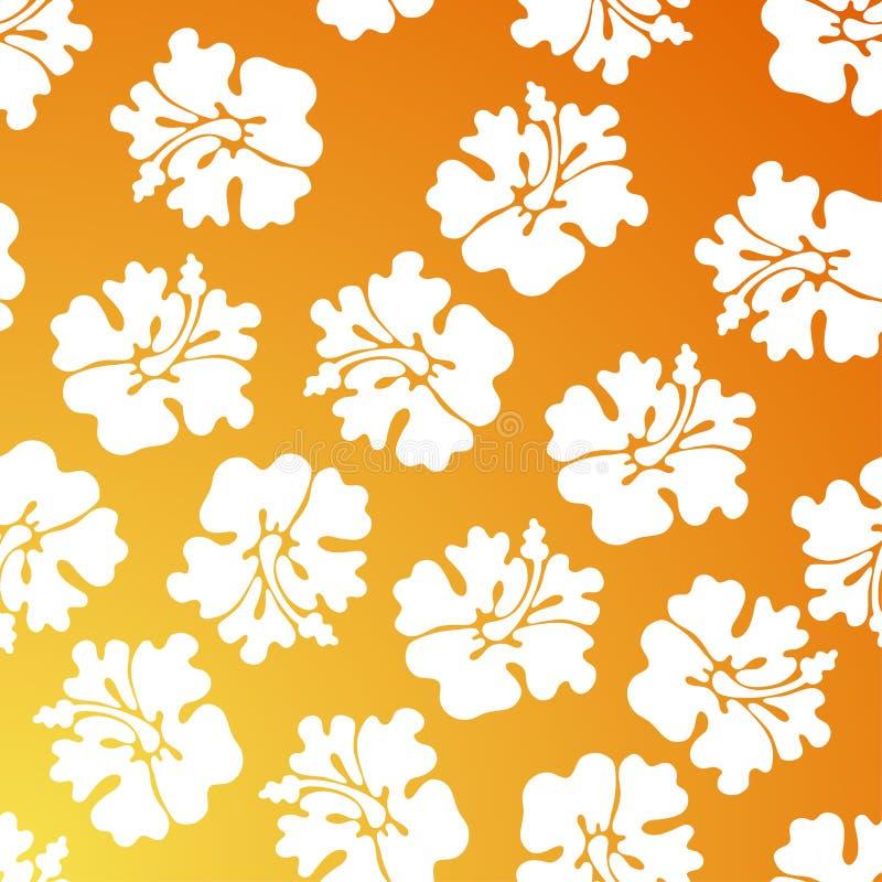 Het Patroon van de hibiscus - Sinaasappel royalty-vrije illustratie