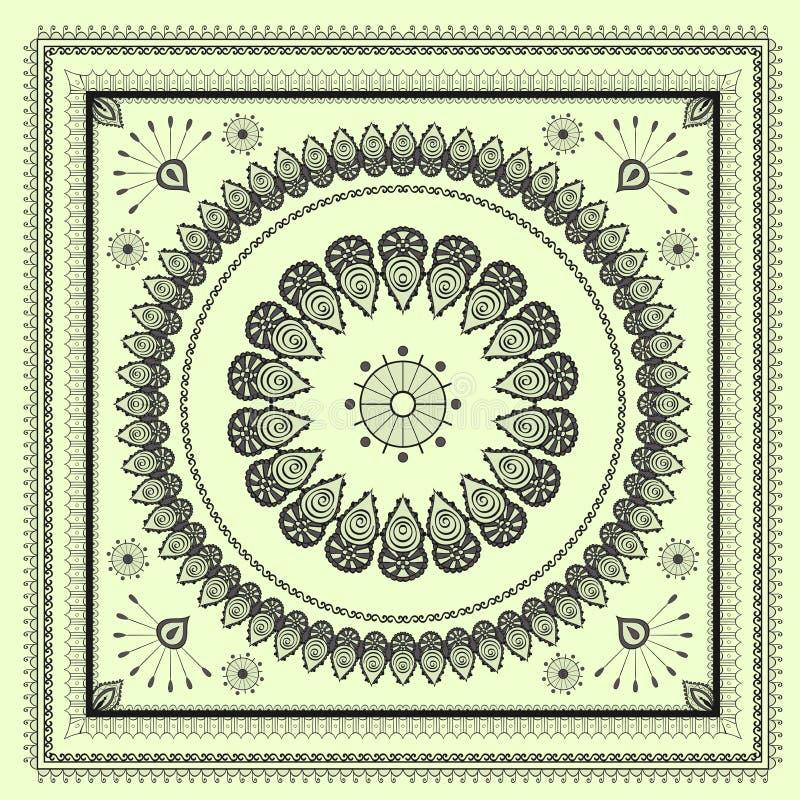 Het patroon van de hinditekening van Mehenditracery, tapijt vector illustratie