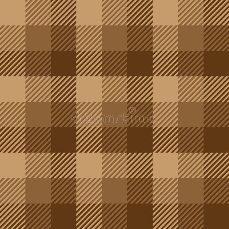 Het patroon van de houthakkersplaid in bruine kleuren Naadloos vectorpatroon Eenvoudig uitstekend textielontwerp royalty-vrije illustratie