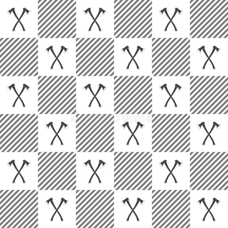 Het patroon van de houthakkersplaid met assen vector illustratie