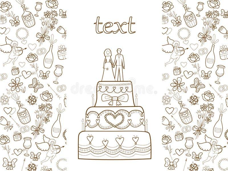 Het patroon van de huwelijkskaart vector illustratie