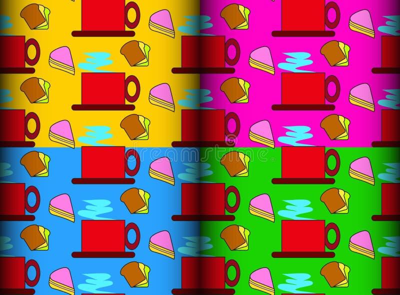 Download Het Patroon Van De Koffiecake Vector Illustratie - Illustratie bestaande uit kleurrijk, ontwerp: 39102830