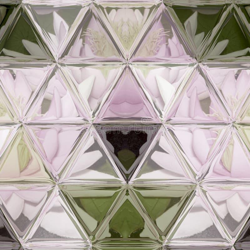 Het patroon van de leliessamenstelling in zwart-wit met de achtergrond van het driehoeksgebrandschilderde glas royalty-vrije stock afbeelding