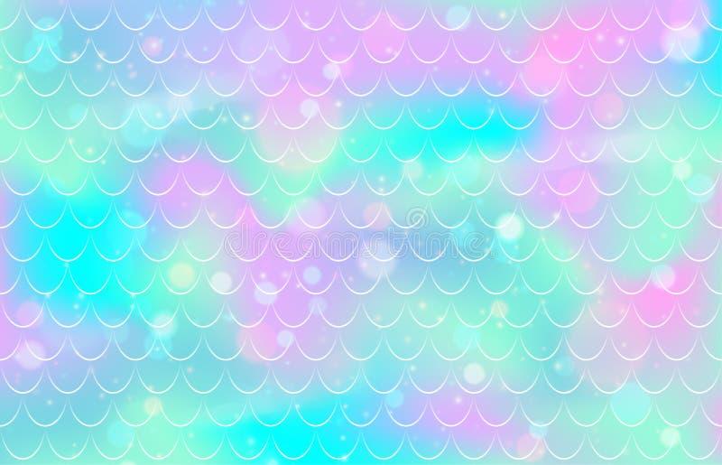 Het patroon van de meerminschaal De textuur van gradiëntvissen Roze blauwe kleuren mariene achtergrond stock illustratie