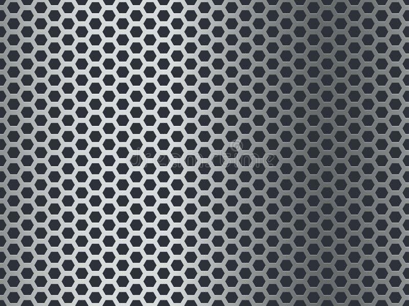 Het patroon van de metaaltextuur Naadloze staalplaat, roestvrij netwerk Eindigt hexagon grungealuminium geperforeerde mozaïek van vector illustratie
