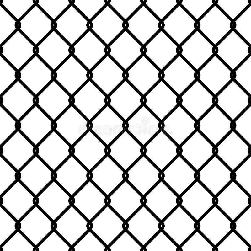 Het patroon van de omheiningsverbinding Naadloos van het het netwerkbehang van de kettingstextuur zwart van de de veiligheidsmuur vector illustratie