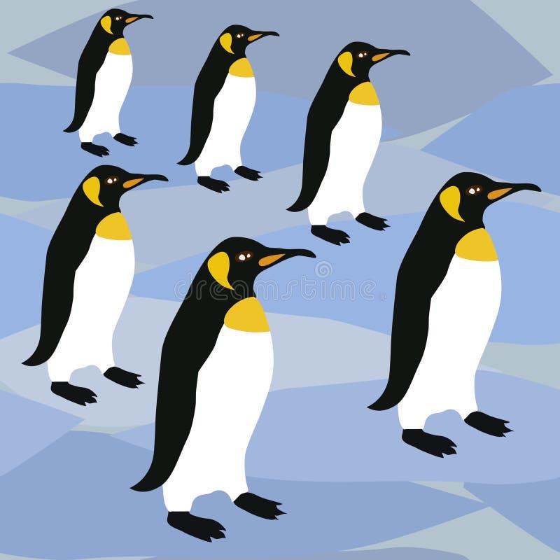 Het Patroon van de pinguïnenoppervlakte, de Pinguïnen van de het Patroonkeizer van Koningspenguins winter repeat voor Textielontw royalty-vrije illustratie