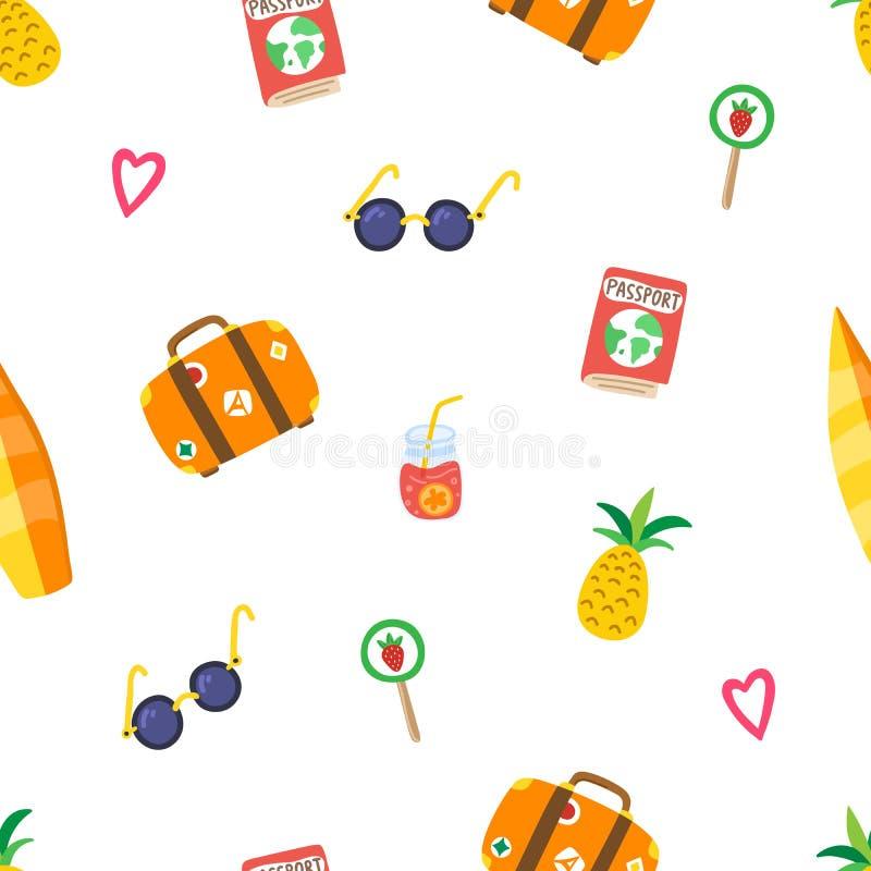 Het patroon van de reiszomer met hand getrokken ananas, zonnebril, koffer, roze harten, paspoort, cocktail, lolly vector illustratie