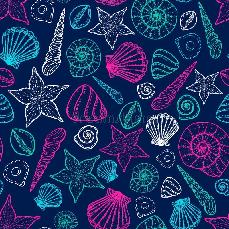 Het Patroon van de strandzeeschelp Vector naadloos patroon met de stijl van de zeeschelpenkrabbel vector illustratie
