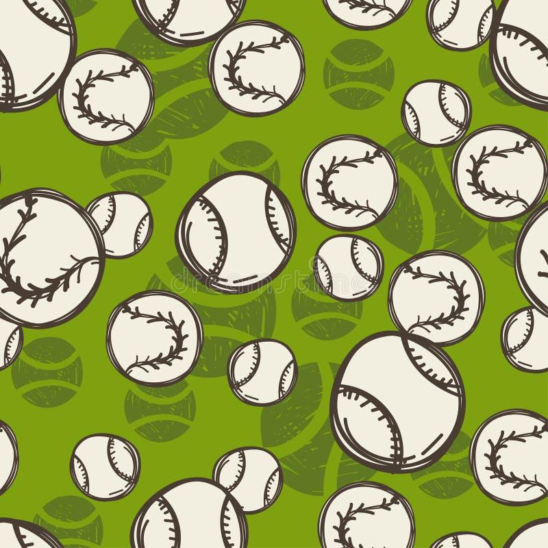 Het patroon van de tennisbal Naadloze sportschets royalty-vrije illustratie