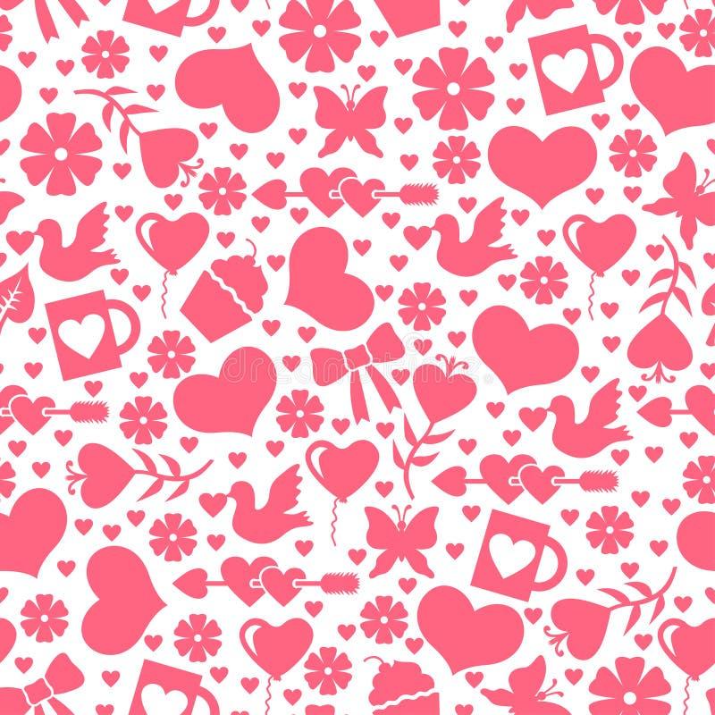 Het patroon van de valentijnskaartendag naadloos met valentijnskaartenelement stock illustratie