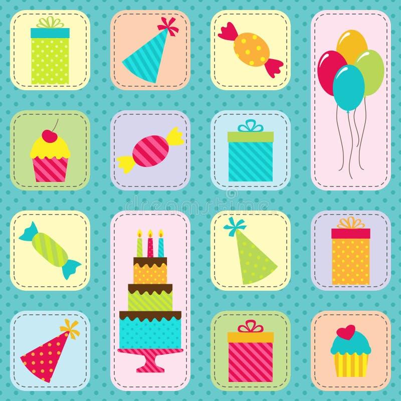 Het patroon van de verjaardagspartij vector illustratie