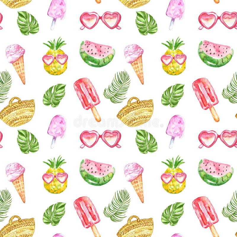 Het patroon van de Watercolourzomer met verse vruchten, roomijs, zonnebril, posicles en tropische bladeren op witte achtergrond royalty-vrije stock foto