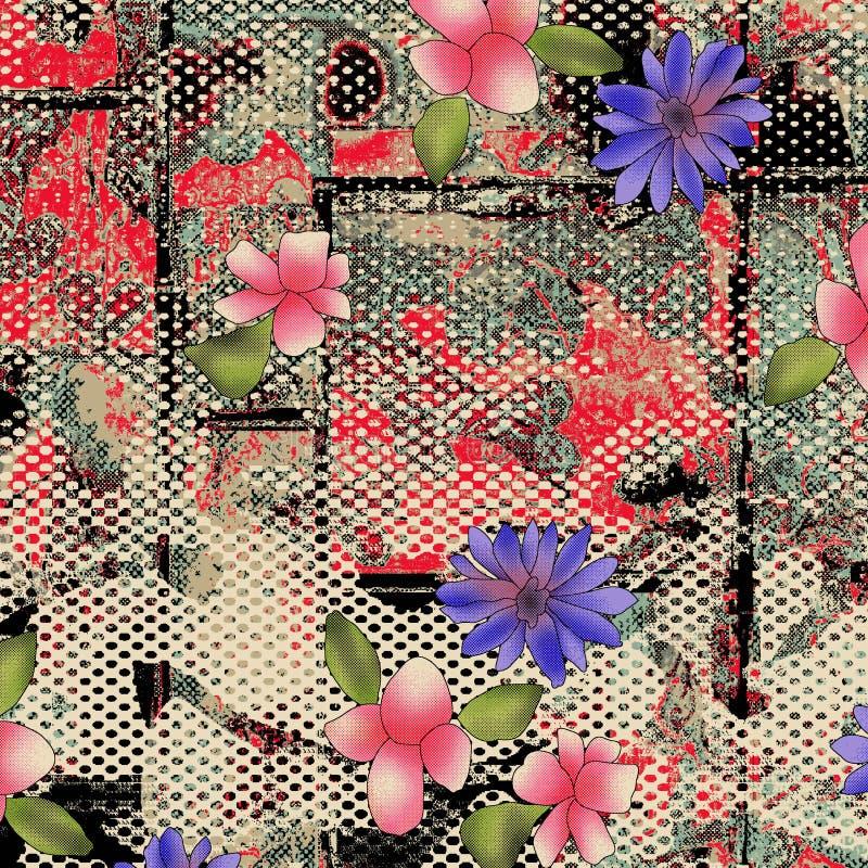 Het PATROON van de WATERVERFbloem op texturen stock illustratie