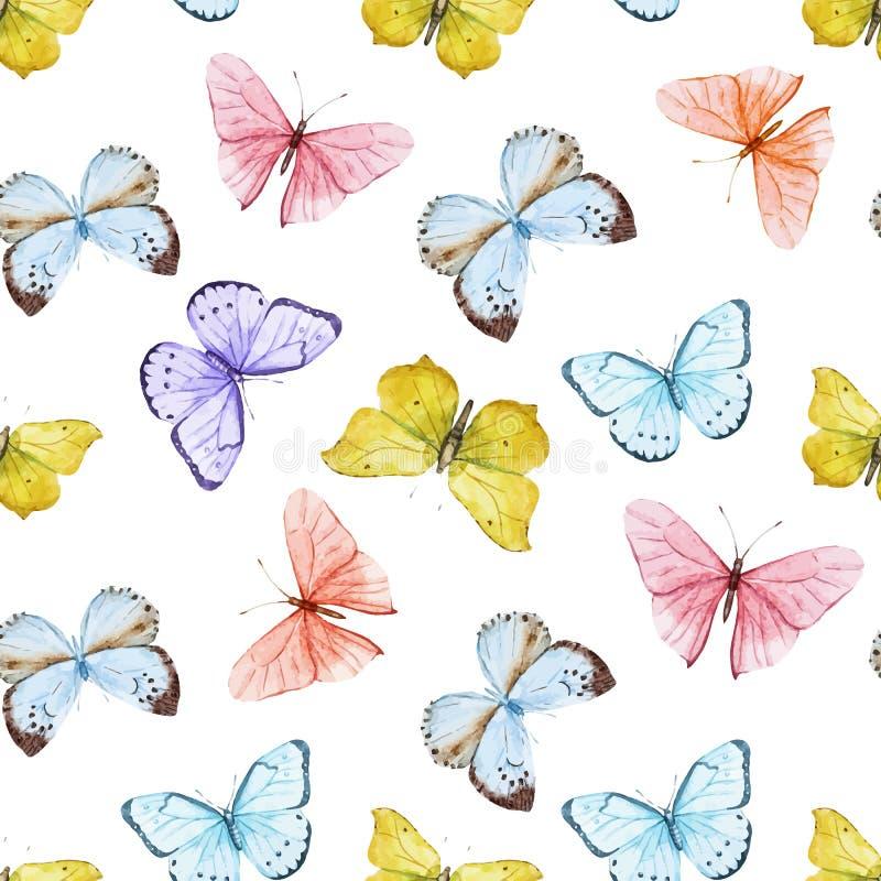 Het patroon van de waterverfvlinder stock illustratie