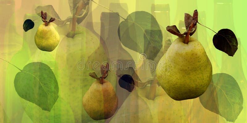 Het patroon van flessen en van peren royalty-vrije illustratie