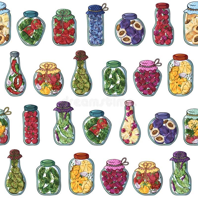 Het patroon van groenten in het zuurkruiken vector illustratie