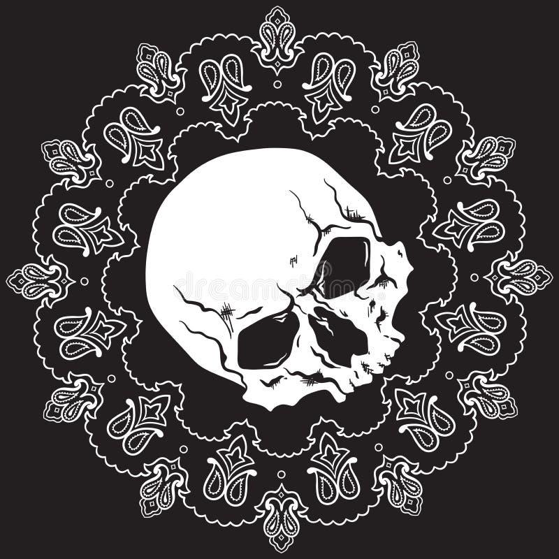 Het patroon van het Bandanaontwerp met schedel Vector illustratie vector illustratie