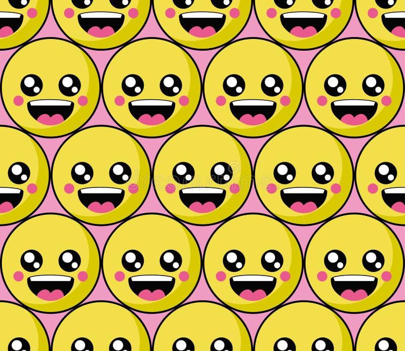 Het patroon van het glimlachgezicht met kleurrijke smileys De achtergrond van het glimlachenpictogram royalty-vrije illustratie