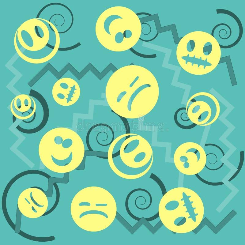 Het patroon van het glimlachgezicht met kleurrijke smileys voor textielachtergrond De achtergrond van het glimlachenpictogram Ont stock illustratie