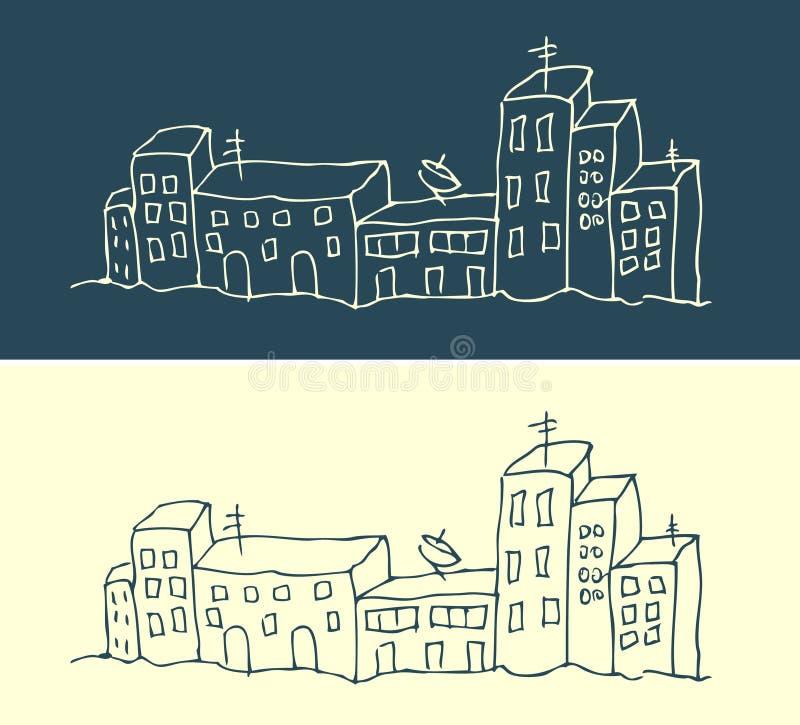 Het patroon van het huis en van de straatstad royalty-vrije illustratie