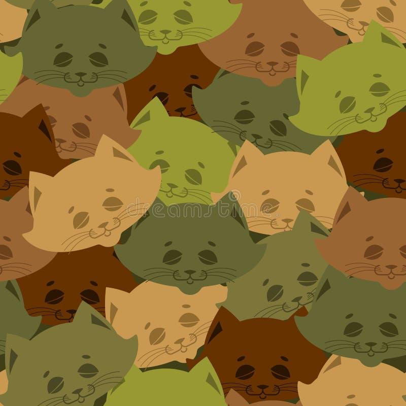Het patroon van het kattenleger De militaire achtergrond van het huishuisdier Textuur voor verkocht stock illustratie