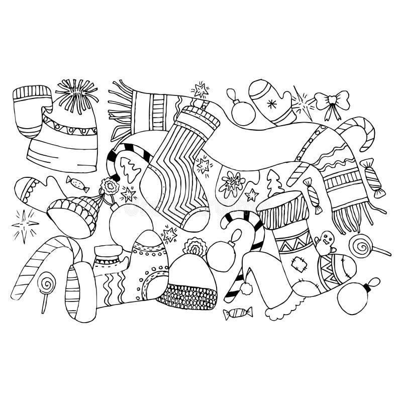Het patroon van het Kerstmisspeelgoed Vector naadloos met de ballen en de klokken van Christmass stock afbeelding
