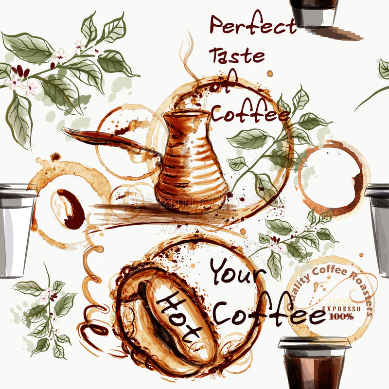 Het patroon van het koffiebehang met koffiebonen, koppen door vlek worden getrokken die vector illustratie