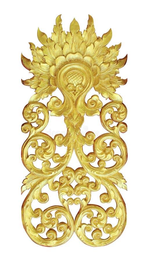 Het patroon van hout snijdt gouden verf voor decoratie op witte achtergrond stock foto's