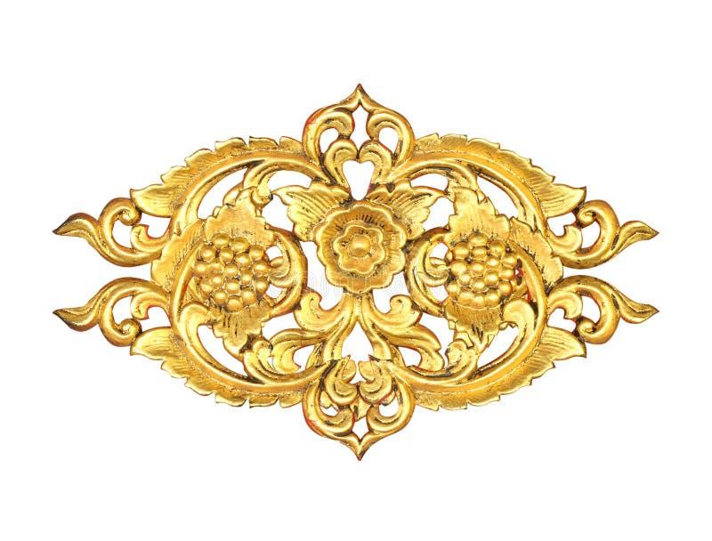 Het patroon van hout snijdt gouden verf voor decoratie op zwarte achtergrond royalty-vrije stock fotografie