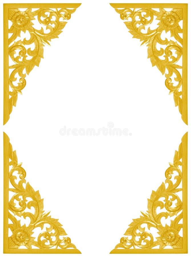 Het patroon van hout snijdt gouden verfkader voor decoratie op witte B stock foto's