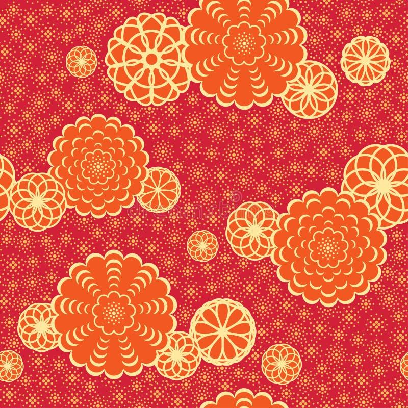 Het patroon van Japan met bloemen royalty-vrije illustratie