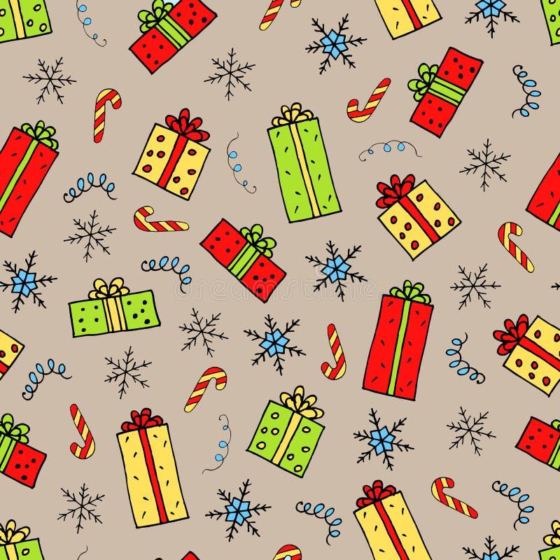 Het patroon van Kerstmisgiften stock illustratie