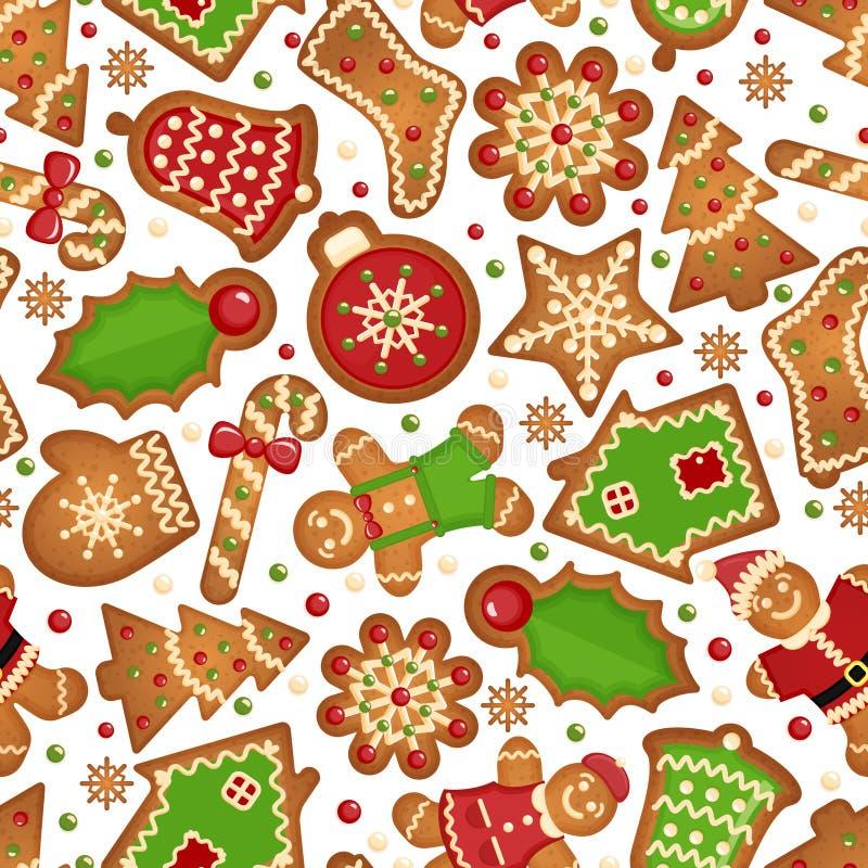 Het patroon van Kerstmiskoekjes stock illustratie