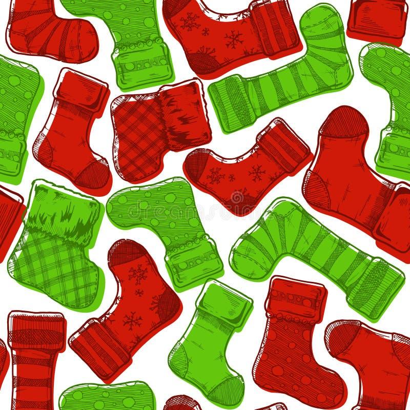 Het patroon van Kerstmiskousen vector illustratie