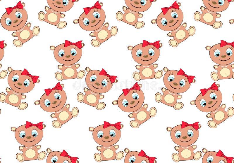 Het patroon van leuk, mooi, bruin, vriendelijk, kinderachtig, het glimlachen draagt meisje met grote hoofd en blauwe ogen in een  vector illustratie