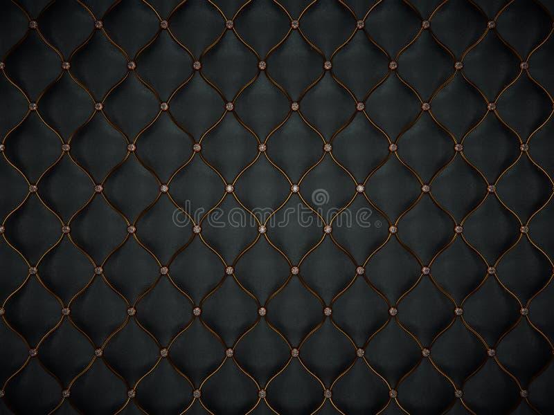 Het patroon van het luxeleer met gouden draad en diamanten vector illustratie