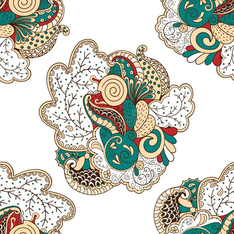 Het patroon van Mehenditracery, Naadloze, met de hand gemaakte hindi vector illustratie
