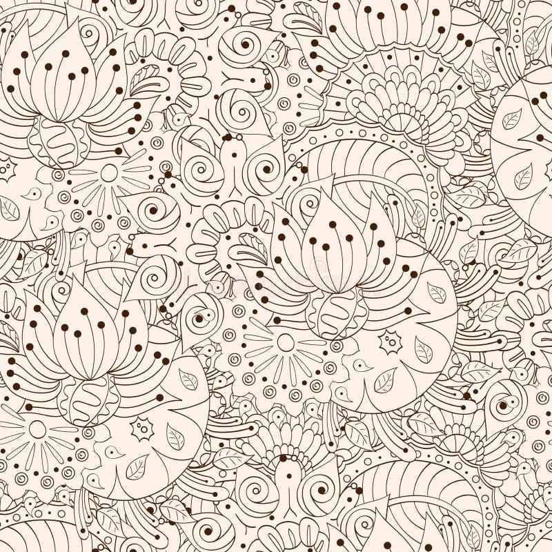 Het patroon van Mehenditracery, Naadloze, met de hand gemaakte hindi royalty-vrije illustratie