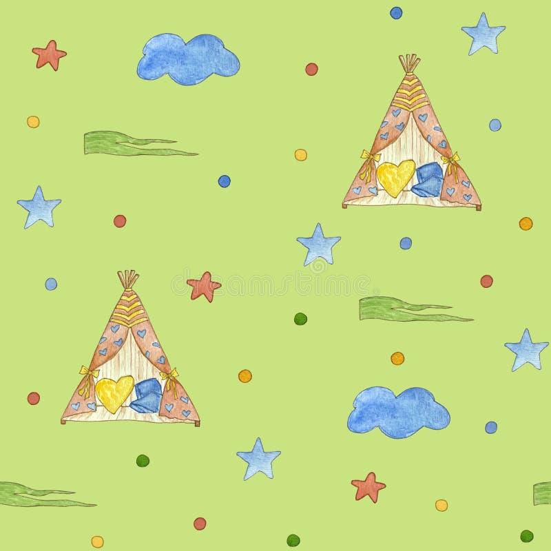 Het patroon van naadloze kinderen met ster, eenhoorn Leuke waterverfillustratie vector illustratie