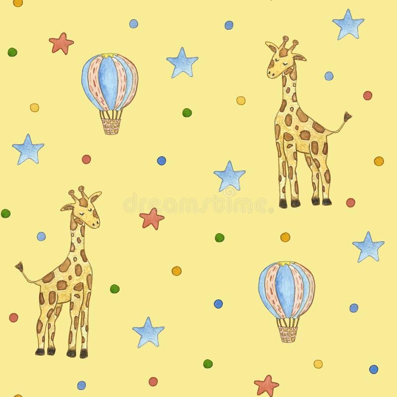 Het patroon van naadloze kinderen met ster, eenhoorn Leuke waterverfillustratie royalty-vrije illustratie