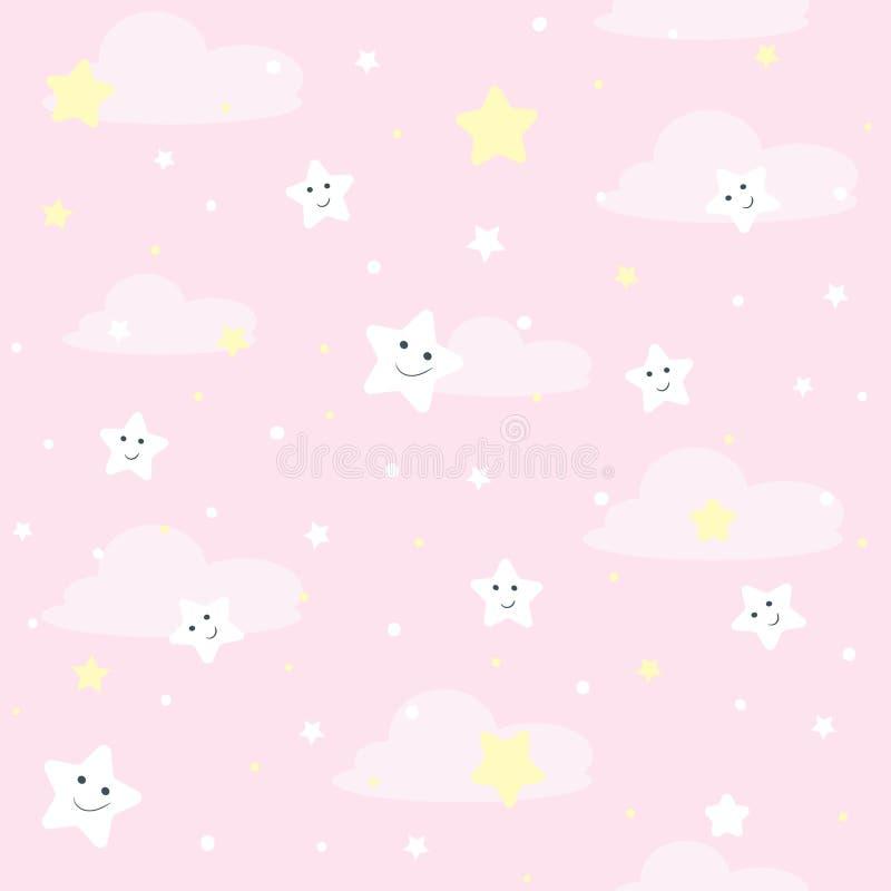 Het patroon van Nice seamles voor kinderen Vectorillustratie met sterren en wolken vector illustratie