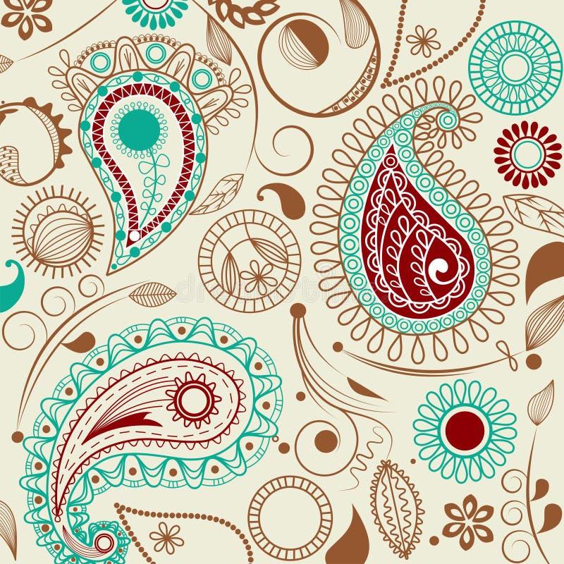 Het patroon van Paisley in retro stijl stock illustratie