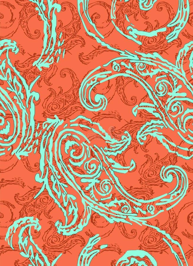 Het patroon van Paisley Traditionele etnische elementen Naadloze ornament Turkse komkommer stock illustratie