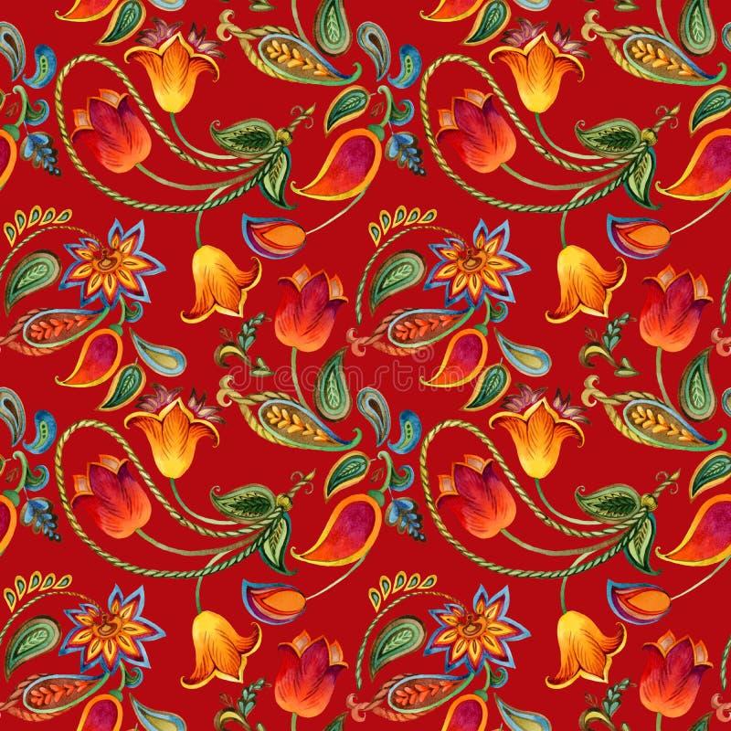 Het patroon van Paisley van de waterverfbloem Naadloze Indische motiefachtergrond royalty-vrije illustratie