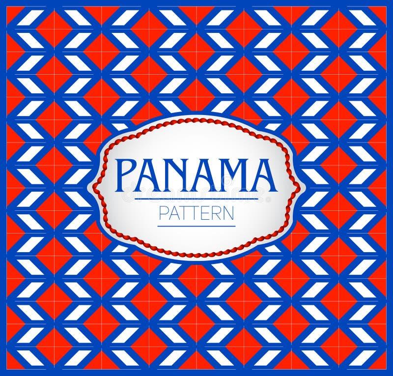 Het patroon van Panama, Achtergrondtextuur en embleem met de kleuren van de vlag van Panama vector illustratie