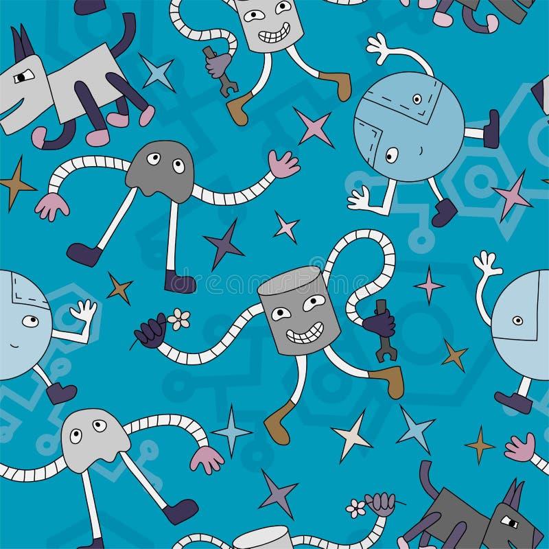 Het patroon van robots stock illustratie
