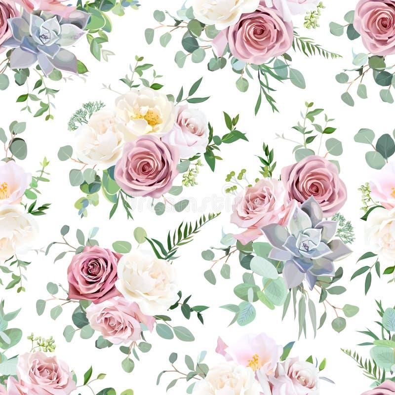 Het patroon van stoffige roze, romig witte antiek wordt geschikt die nam toe royalty-vrije illustratie
