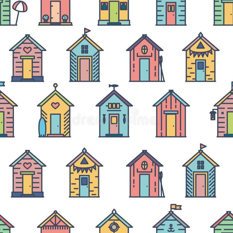 Het patroon van strandhutten, gekleurde, vlakke stijl stock fotografie