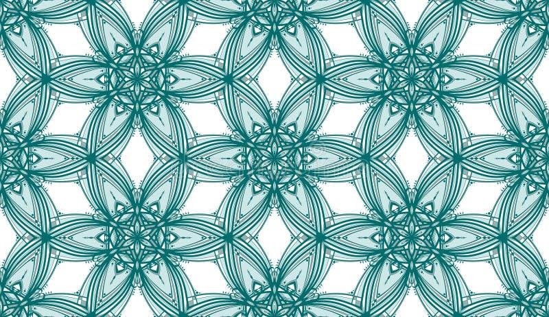 Het Patroon van Teal Kaleidoscope Flowers - Tileable- stock foto